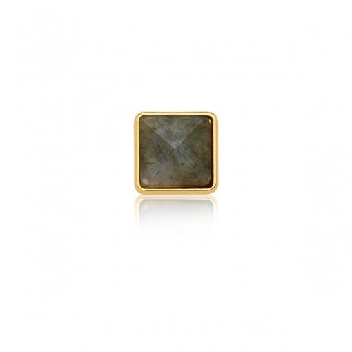 Pingente Esteira com Cristal Quadrado Fumê em Aço Dourado