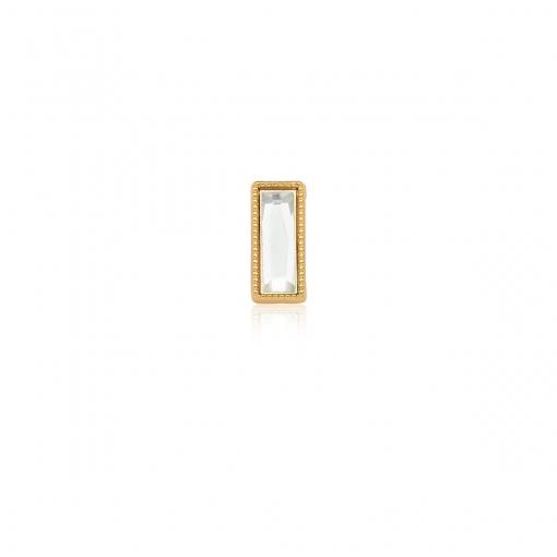 Pingente Esteira com Cristal Retangular Branco em Aço Dourado