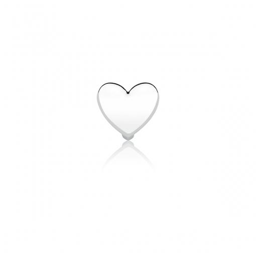 Pingente Esteira de Coração Liso em Aço