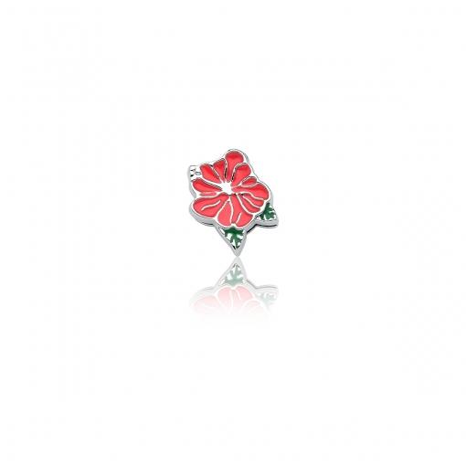 Pingente Esteira de Flor Esmaltado Rosa em Aço