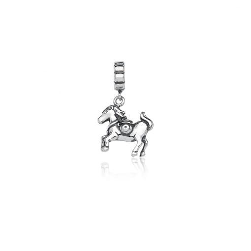 Pingente Berloque de Cavalo Liso em Prata Envelhecida