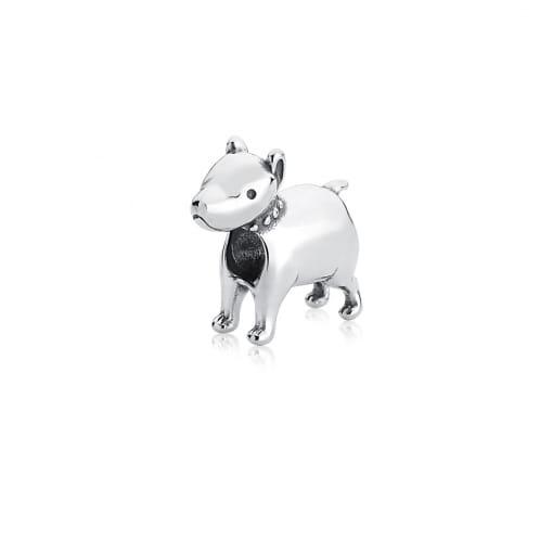 Berloque de Cachorro Liso Prata Envelhecida