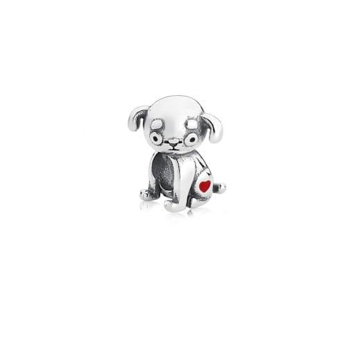 Berloque de Cachorro com Coração Esmaltado Prata Envelhecida