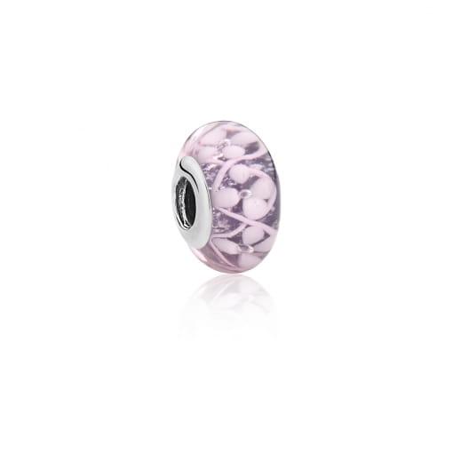 Berloque Pedra Murano Rosa com Flores Prata Envelhecida