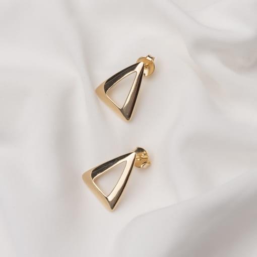 Brinco Triangular Vazado e Liso Folheado a Ouro