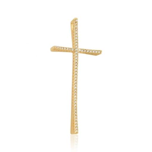 Pingente de Cruz Curvo com Zircônias Brancas Folheado a Ouro