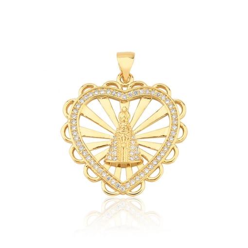 Pingente Coração com Nossa Senhora Aparecida Folheado a Ouro