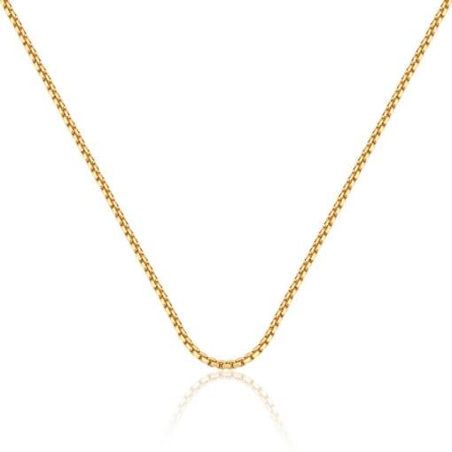Corrente em Malha Portuguesa Lisa 45cm Folheada a Ouro