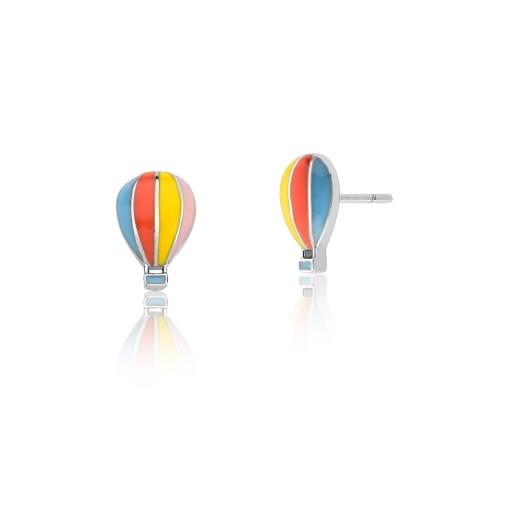 Brinco Kids de Balão Esmaltado Colorido Prata Rodinada