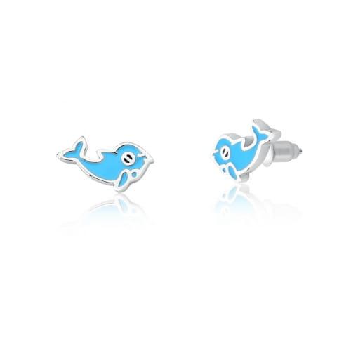 Brinco Kids de Golfinho Esmaltado Azul Prata Rodinada