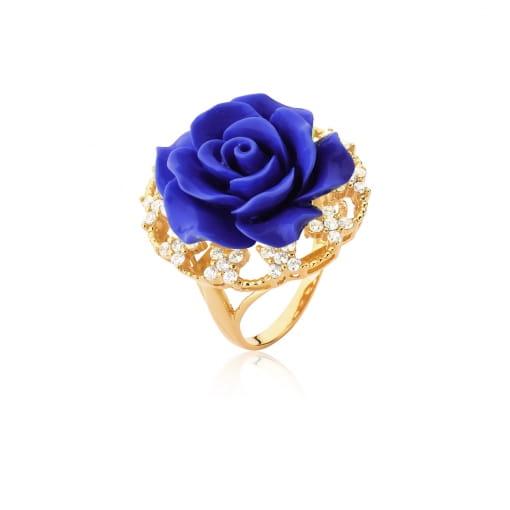 Anel Flor de Baquelite na Cor Azul Escuro Folheado a Ouro