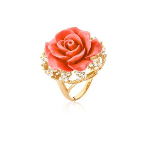 Anel Flor de Baquelite na Cor Coral Folheado a Ouro