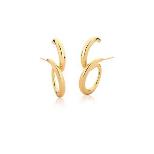 Brinco Ear Hook Curvo e Liso Folheado a Ouro