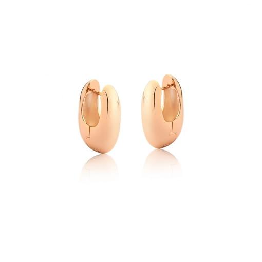 Argola Oval e Lisa Folheada a Ouro Rosê