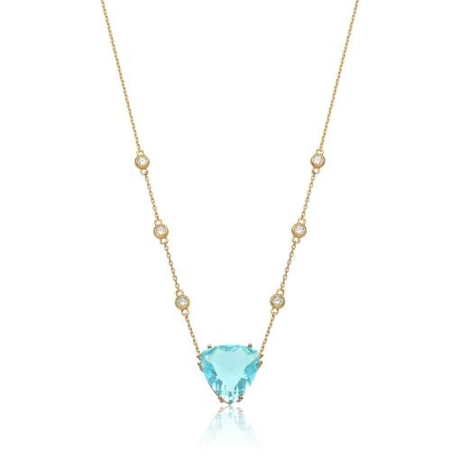 Corrente com Cristal Triangular Água Marinha Folheada a Ouro