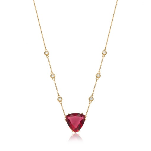 Corrente com Pingente Cristal Triangular Rubi Folheada a Ouro