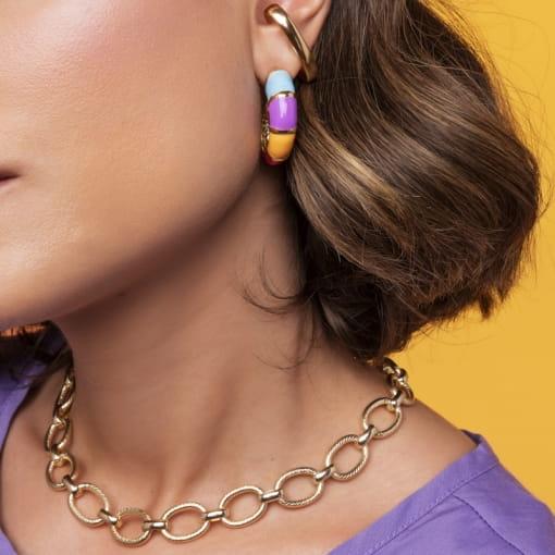 Piercing de Orelha Unitário Ear Hook e Liso Folheado a Ouro