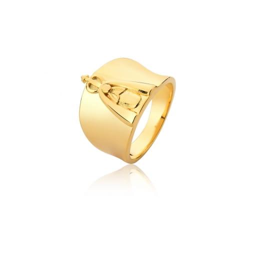 Anel com Imagem de Nossa Senhora Aparecida Folheado a Ouro
