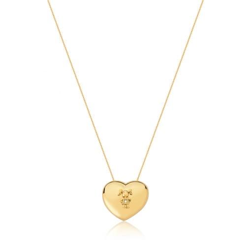 Corrente com Pingente de Coração e Menina Folheada a Ouro