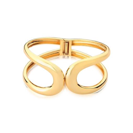 Bracelete Curvo Duas Voltas Lisas e Vazado Folheado a Ouro