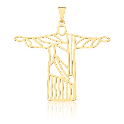 Pingente Cristo Redentor Vazado e Liso Folheado a Ouro