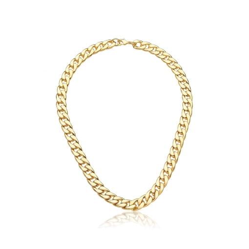 Corrente em Malha Groumet Lisa 40cm Folheada a Ouro