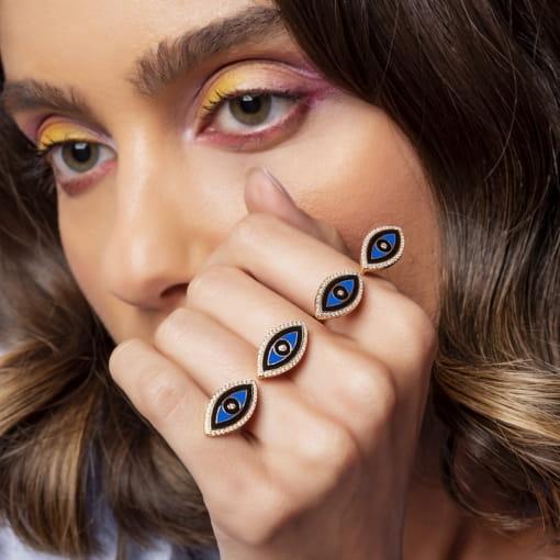 Anel Regulável com Olhos Esmaltados Azuis Folheado a Ouro