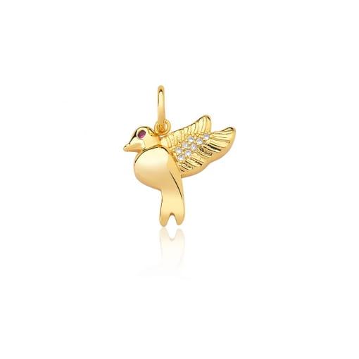 Pingente Divino Espírito Santo com Zircônias Folheado a Ouro