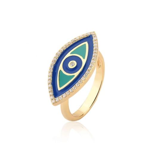 Anel de Olho Grego Esmaltado na Cor Azul Folheado a Ouro