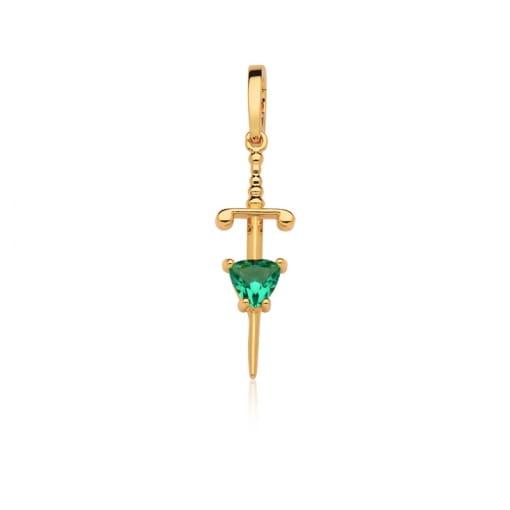 Pingente de Espada Lisa com Cristal Turmalina Folheado a Ouro