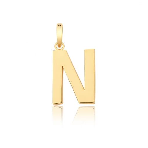 """Pingente Letra """"N"""" Liso com Fecho Folheado a Ouro"""