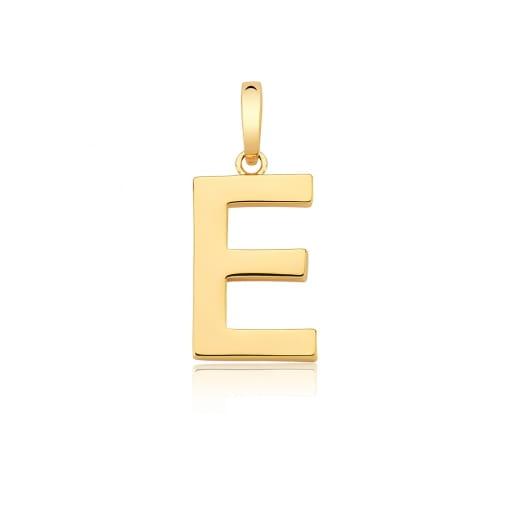 """Pingente Letra """"E"""" Liso com Fecho Folheado a Ouro"""
