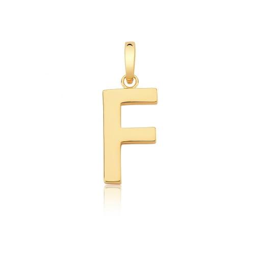 """Pingente Letra """"F"""" Liso com Fecho Folheado a Ouro"""
