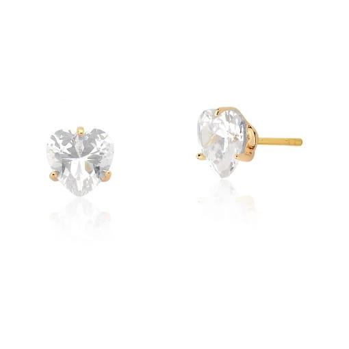 Kit Três Pares de Brincos Cristal Coração Branco Folheado a Ouro