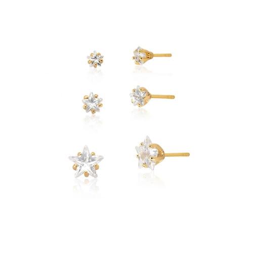 Kit Três Pares de Brincos Cristal Estrela Branca Folheado a Ouro