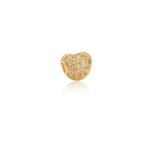 Berloque de Coração Vazado com Zircônias Brancas Folheado a Ouro