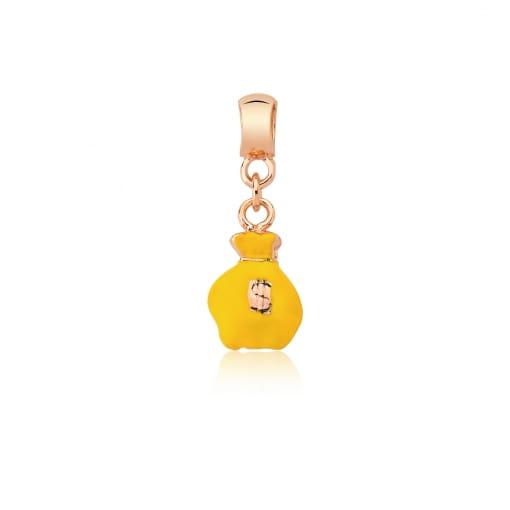 Pingente Berloque Saco de Dinheiro Amarelo Folheado a Ouro Rosê