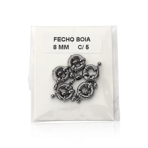 Fecho Boia Kit com 5 Unidades Folheado a Ródio Negro