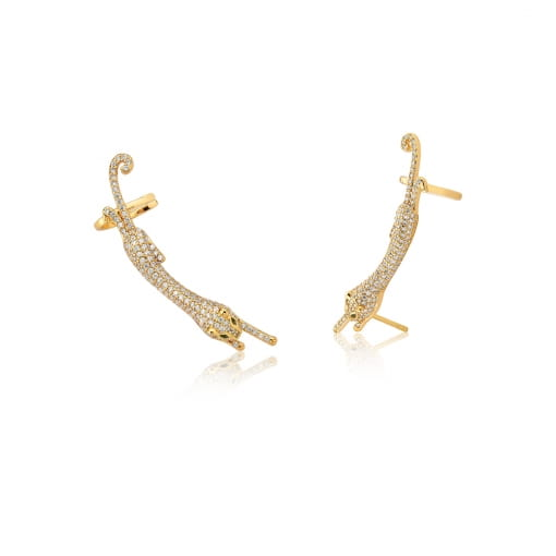 Brinco Ear Cuff de Leopardo com Zircônias Folheado Ouro