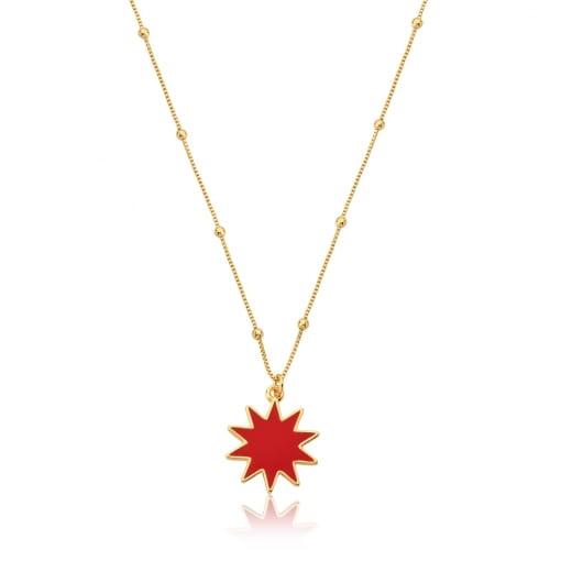 Corrente com Pingente Estrela Esmaltada Vermelha Folheada a Ouro