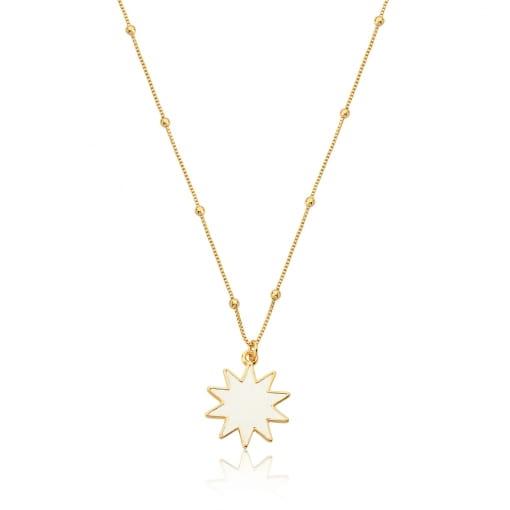 Corrente com Pingente Estrela Esmaltada Branco Folheada a Ouro