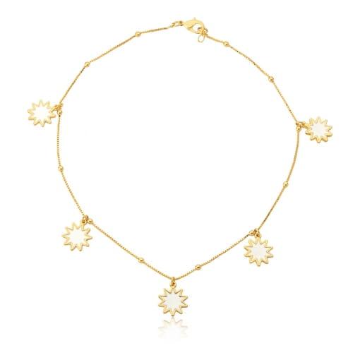 Choker com Pingente Estrelas Esmaltadas Branca Folheada a Ouro
