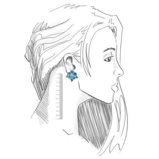 Brinco Flor Esmaltado na Cor Azul Folheado a Ródio