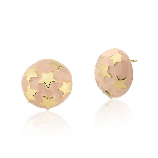 Brinco Redondo Esmaltado Rosa e Estrelas Folheado a Ouro