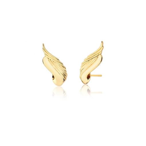 Brinco Ear Cuff de Asa Trabalhado e Liso Folheado a Ouro