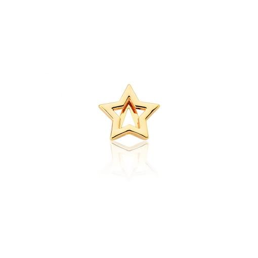 Pingente Esteira de Estrela Lisa em Aço Dourado