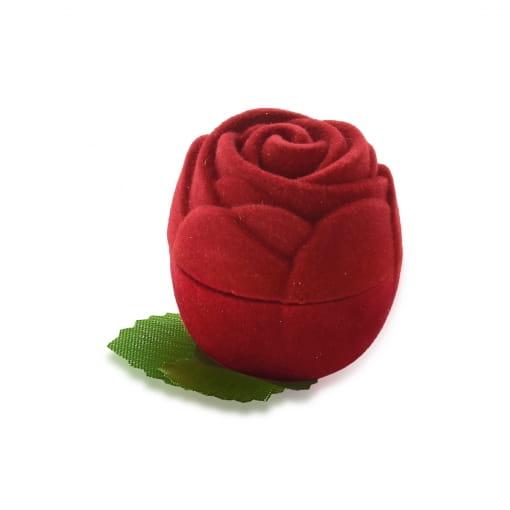 Caixa de Rosa Para Anel em Veludo Vermelho