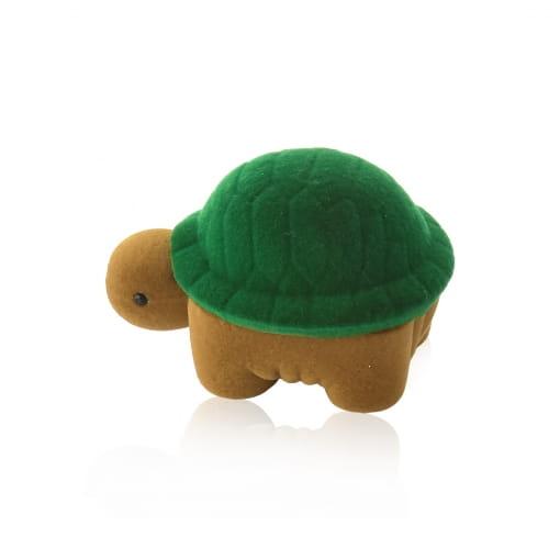 Caixa de Tartaruga Para Anel em Veludo Verde e Marrom