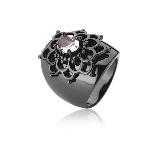 Anel Flor com Cristal Oval Rosa Banhado a Ródio Negro