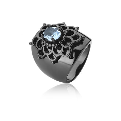 Anel Flor com Cristal Oval Topázio Azul Banhado a Ródio Negro